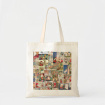 Vintage Christmas Cards Holiday Pattern Tote Bag