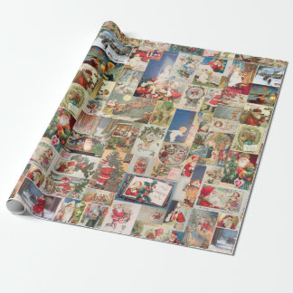 Vintage Christmas Cards Holiday Pattern Wrapping Paper