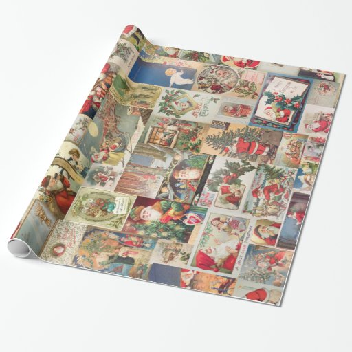 Vintage Christmas Cards Holiday Pattern Gift Wrapping Paper
