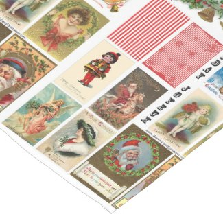 Vintage Christmas Cards Table Runner