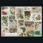 """VINTAGE CHRISTMAS  CARDS TISSUE PAPER<br><div class=""""desc"""">A collection of Christmas nostalgia with antique and vintage holiday greeings and old Christmas cards. Many include old style typography and lithographic style prints. For more antique and vintage holiday designs see the SalvageScapes store CHRISTMAS & WINTER NOSTALGIA</div>"""