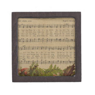 Vintage Christmas Carol Music Sheet Gift Box
