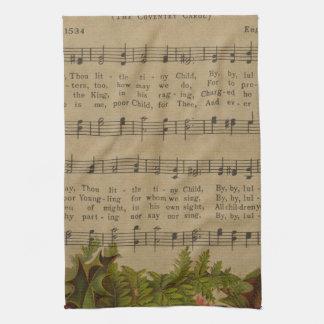 Vintage Christmas Carol Music Sheet Kitchen Towel