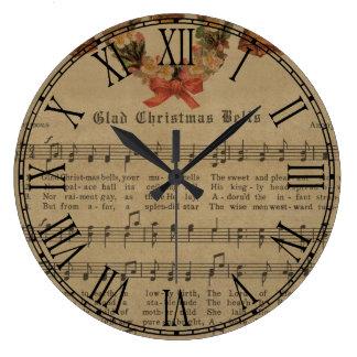 Vintage Christmas Carol Music Sheet Large Clock