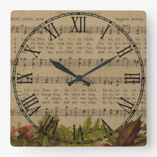 Vintage Christmas Carol Music Sheet Square Wall Clock