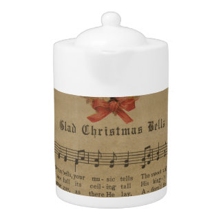 Vintage Christmas Carol Music Sheet Teapot