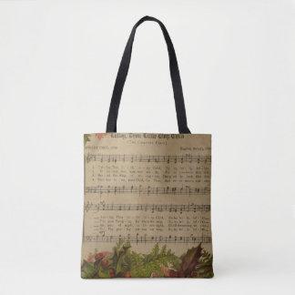 Vintage Christmas Carol Music Sheet Tote Bag