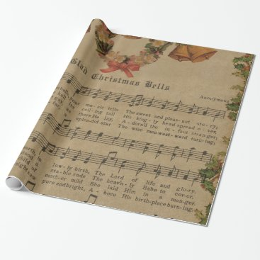 Christmas Themed Vintage Christmas Carol Music Sheet Wrapping Paper