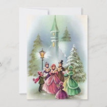Vintage Christmas carolers add message card