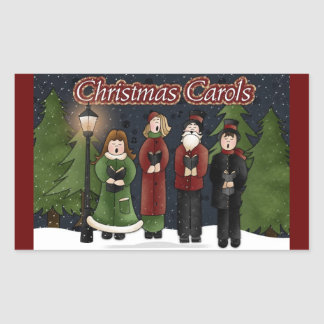 Vintage Christmas Carolers Rectangle Stickers