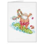 Vintage Christmas Cartoon Surfing Santa Claus Cards