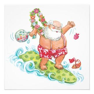 Vintage Christmas Cartoon Surfing Santa Claus Custom Invites