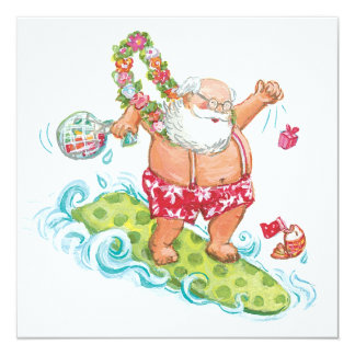 Vintage Christmas Cartoon Surfing Santa Claus 5.25x5.25 Square Paper Invitation Card
