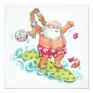 Vintage Christmas Cartoon Surfing Santa Claus Invitation