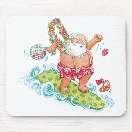 Vintage Christmas Cartoon Surfing Santa Claus Mousepads