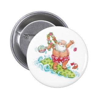 Vintage Christmas Cartoon Surfing Santa Claus Pinback Button