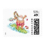 Vintage Christmas Cartoon Surfing Santa Claus Postage Stamp