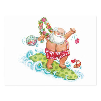 Vintage Christmas Cartoon Surfing Santa Claus Postcard