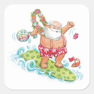 Vintage Christmas Cartoon Surfing Santa Claus Sticker