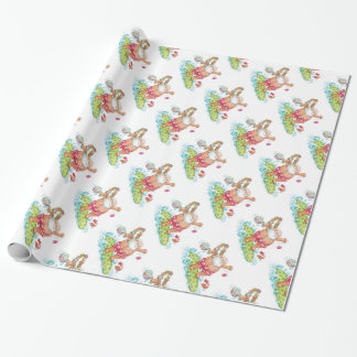 Vintage Christmas Cartoon Surfing Santa Claus Wrapping Paper