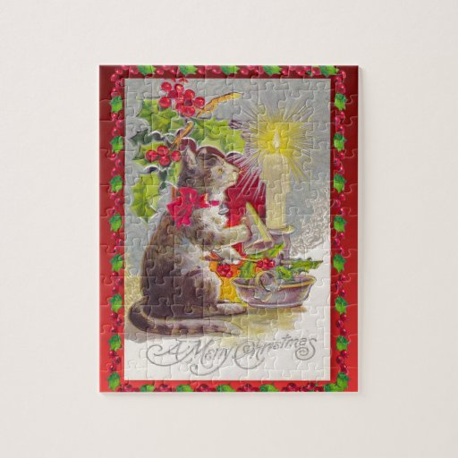 Christmas Decorations Crossword : Vintage christmas cat among decorations puzzle