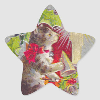 Vintage Christmas, Cat among decorations Star Sticker