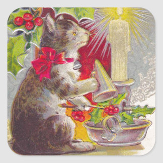 Vintage Christmas, Cat among decorations Square Sticker