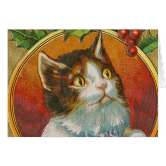 Vintage Christmas Cat Card