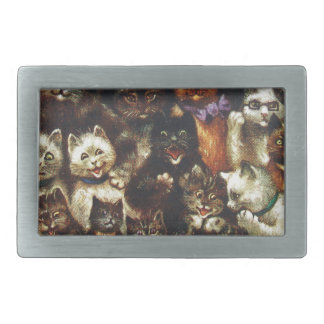 Vintage Christmas Cat Family - At the Play Rectangular Belt Buckle