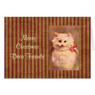 Vintage Christmas Cat Greeting Card