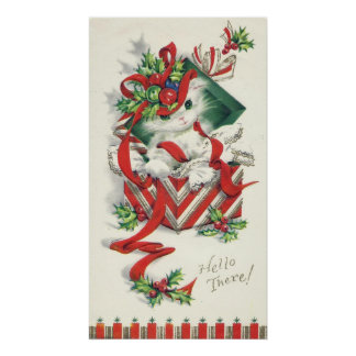 Vintage Christmas cat Holiday wall poster
