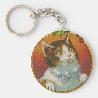 Vintage Christmas Cat Basic Round Button Keychain