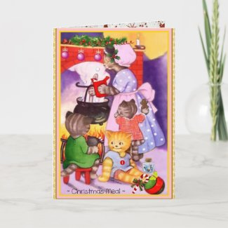 Vintage Christmas Cat Kittens Cook Greeting Card