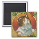 Vintage Christmas Cat Magnet
