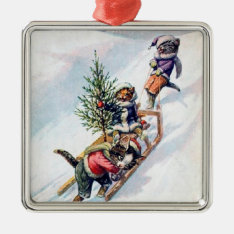 Vintage Christmas Cat Ornament at Zazzle