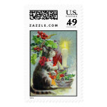 Vintage Christmas Cat Stamps