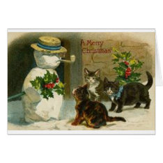 Vintage Christmas Cats And Snowman Greeting Card at Zazzle