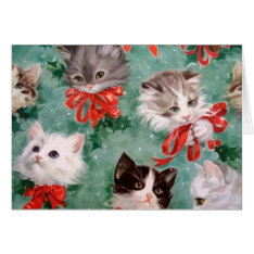 Vintage Christmas Cats Card at Zazzle
