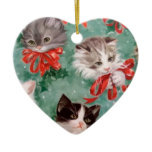 Vintage Christmas Cats Double-Sided Heart Ceramic Christmas Ornament