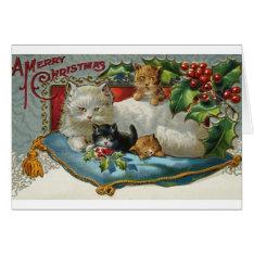Vintage Christmas Cats Greeting Card at Zazzle
