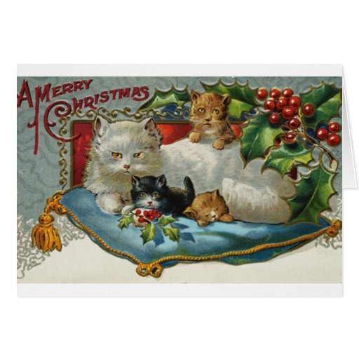 Vintage Christmas Cats Greeting Card   Zazzle