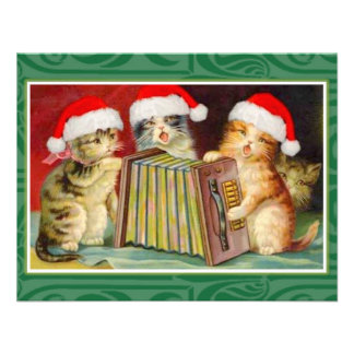 Vintage Christmas Cats Personalized Invites