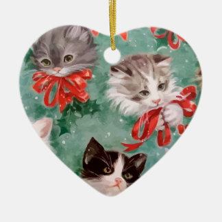 Vintage Christmas Cats Christmas Ornament