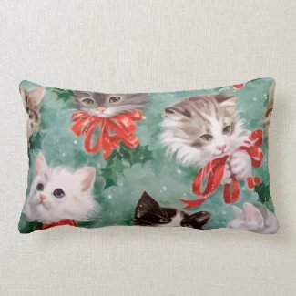 Vintage Christmas Cats Pillows