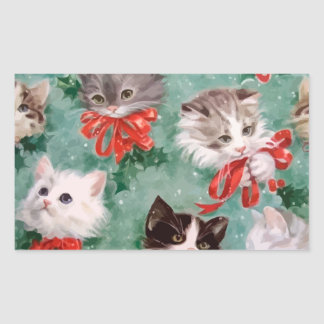 Vintage Christmas Cats Rectangle Stickers