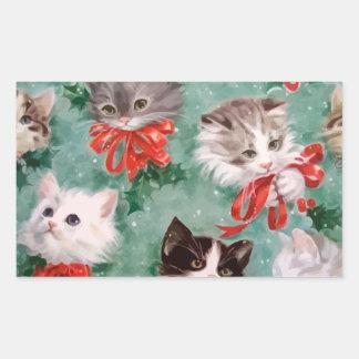 Vintage Christmas Cats Rectangular Sticker