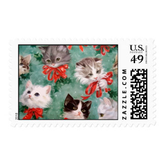 Vintage Christmas Cats Stamp
