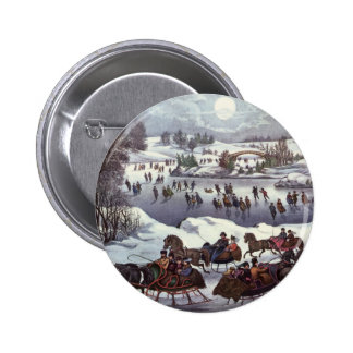 Vintage Christmas, Central Park in Winter 2 Inch Round Button