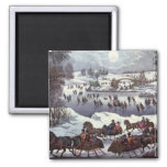 Vintage Christmas, Central Park in Winter 2 Inch Square Magnet