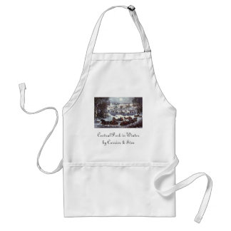 Vintage Christmas, Central Park in Winter Adult Apron